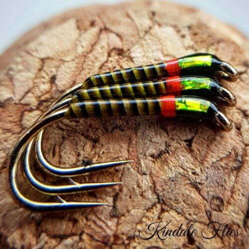 Fly Fishing Straight Hook Hot Collar Olive Quill Buzzers size 12 Set of 3