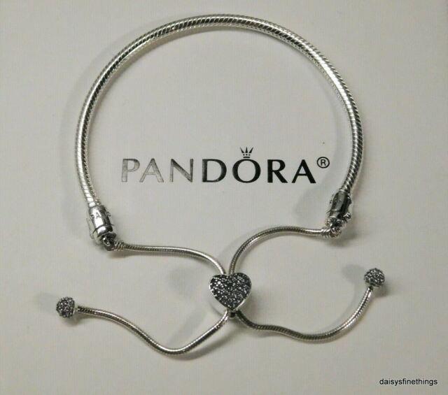 Authentic Pandora Pave Heart Adjustable Sliding Bracelet 598699c01 2020 For Sale Online Ebay