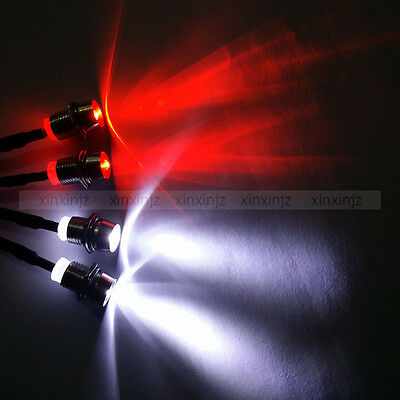 2Blue+2White RC 1/10 Model Drift Car LED Light Night 5mm Headlights Futaba