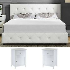 3 Pieces Bedroom Set Full Size White Modern Design Luxury Furniture ...