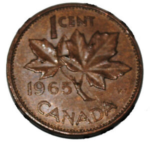 Canada 1965 Lbb5 1 Cent Copper One Canadian Penny Coin Ebay
