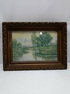 ANTIQUE 15 X 11 GOLD PICTURE FRAME WOOD GESSO ORNATE FINE ART COUNTRY