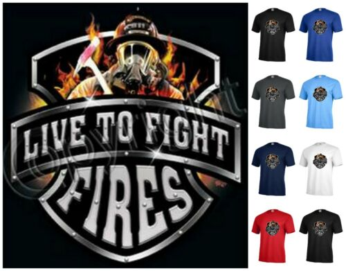 Firefighter T-shirt Live to Fight Fires Graphic tee Adult P443