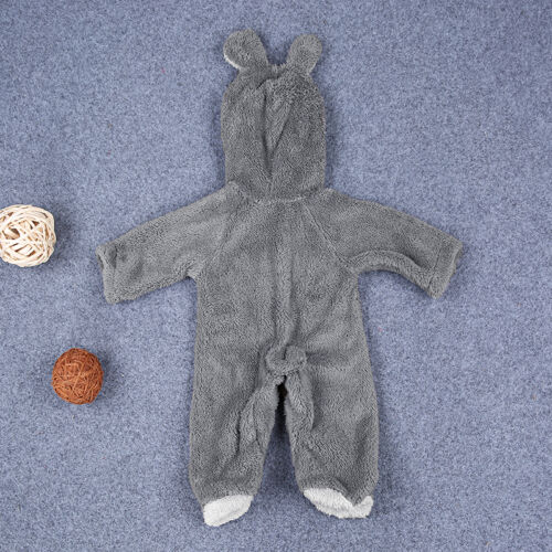 Winter Newborn Baby Boy Girl Hooded Romper Pajamas Fleece Bear Jumpsuit Bodysuit