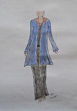 ORIGINAL MODEZEICHNUNG Modeskizze Damen fashion sketches 10-675