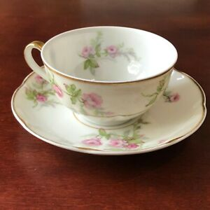 Theodore-Haviland-China-Limoges-France-Tea-Coffee-Cup-with-Saucer-Pink-Rose