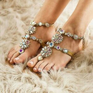 Womens-Glitter-Rhinestones-Thong-Sandals-Flip-Flops-Strappy-Flat-Bohemia-Shoes