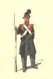 Illustration J.Demart Militaria Belgien Bataillon De Schelde 1837