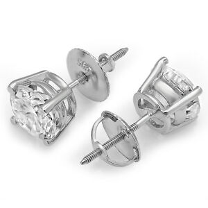 1-0-ct-Brilliant-Round-Cut-Screw-Back-Earring-Studs-Real-Solid-14K-White-Gold