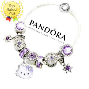 Pandora Bracelet Silver Birthday Hello Kitty Purple With European Charms New Ebay