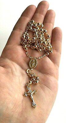18k Gold Over Solid 925 Sterling Silver Italian Rosary 18\u201d Long 3mm-beads  Rosario de Plata Con 18k Bano de Oro 18 Largo