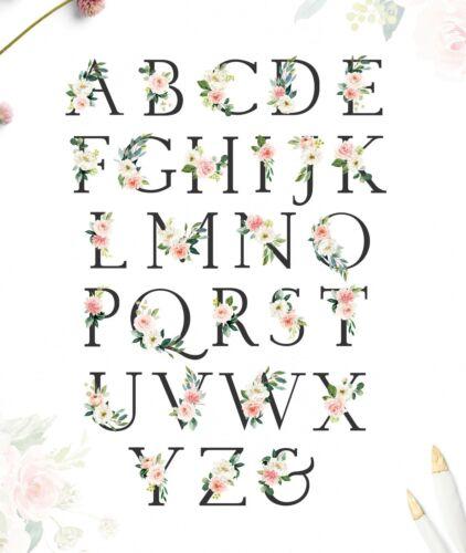 Pink Grey Woodland Animals Personalised Monogram Floral Nursery Art Set 6 614-A