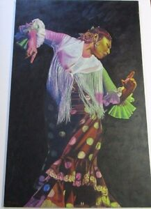 FINEST-KEVIN-YUEN-PAINTING-LARGE-48-INCH-DANCER-CALIFORNIA-POP-MUSIC-FLAMENCO
