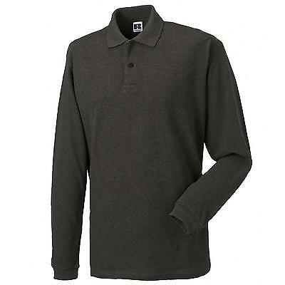 New RUSSELL Long Sleeve 100% Cotton Pique Polo-Shirt in 5 colours XS - XXL
