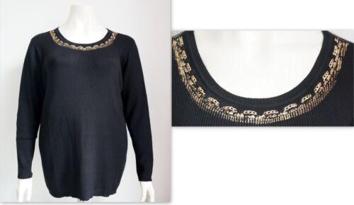 Special Point Size fisso nero Fine oro maglione Lady catena New in AdtqxA