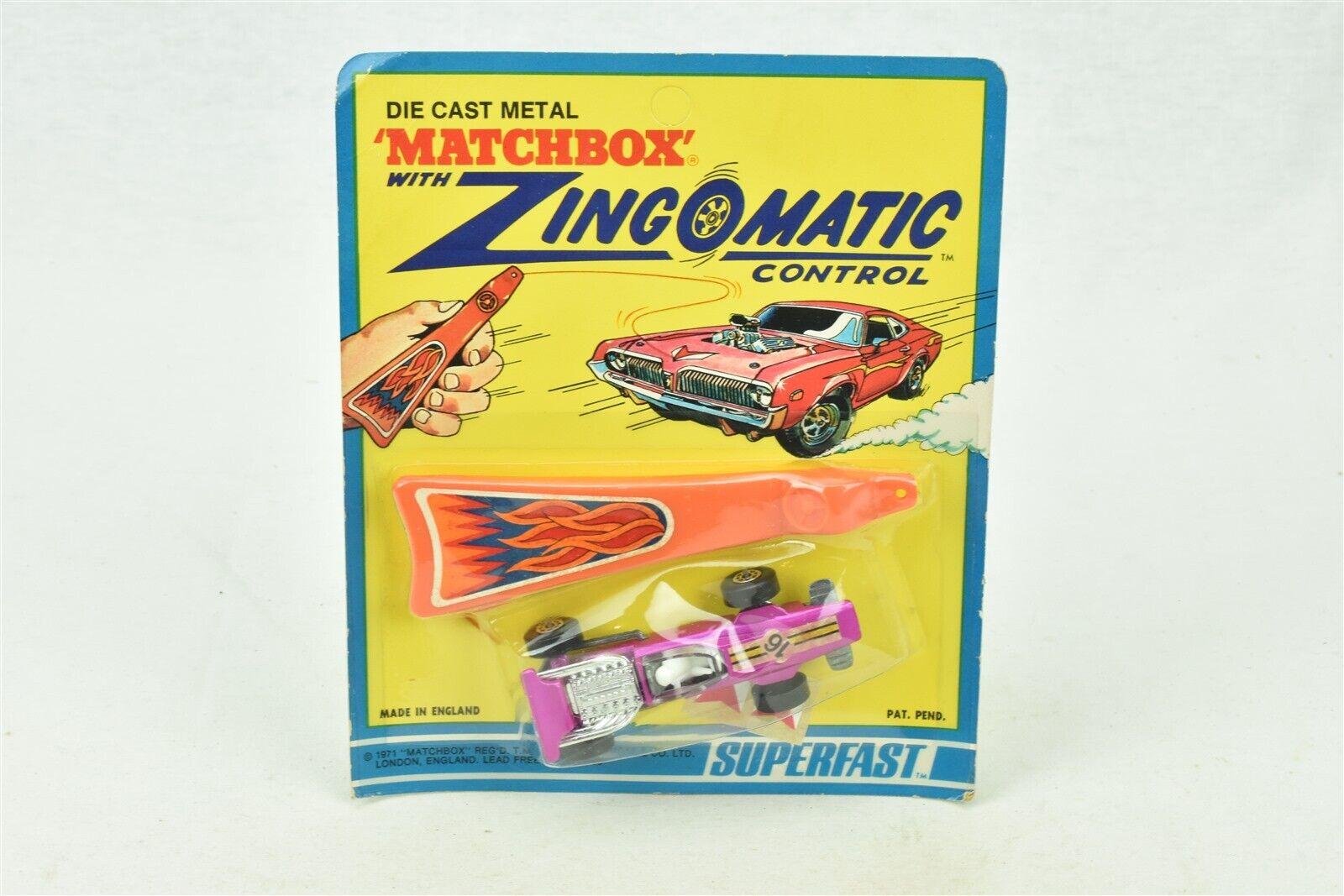 Matchbox Zingomatic Control Superfast  34 Formula Race Car unpunched card 1971