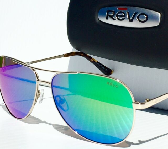 63795b826b REVO JOHNSTON GOLD Aviator POLARIZED Green Shallow lens Sunglass 5015 04 GN