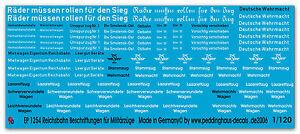 Peddinghaus-1-120-1254-Divers-Reichsbahnbeschriftung-Militarzuge