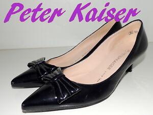"""Fabuleux """"peter Kaiser"""" Noir Cuir Verni Cour Chaussures Uk 3.5 Eu 36 £ 99-afficher Le Titre D'origine"""