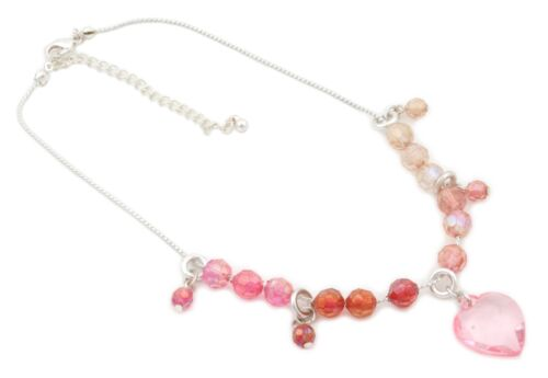 Zest Girls Pretty Bead /& Heart Charm Necklace Silver /& Pink