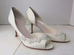 cb8d699859f3 Melissa Sweet Half Dorsay Beaded Peep Toe Heels White Bridal Wedding ...