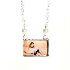 Freshwater pearl custom photo necklace keepsake memory glass personalized charm
