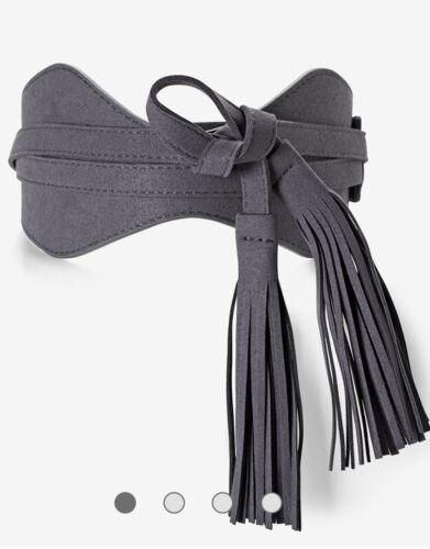 NWT White House Black Market Reversible Gray Tassel Obi Belt Size XL