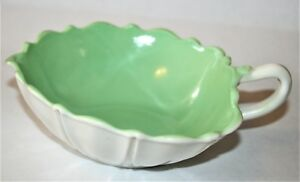 Anchor-Hocking-Depression-Glass-Oyster-and-Pearl-Green-on-White-Open-Handle-Bowl