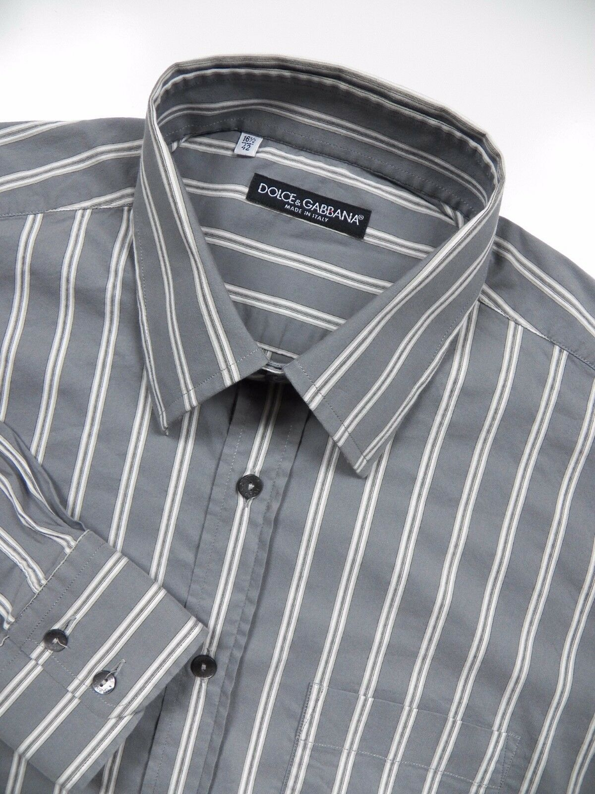 DOLCE & GABBANA  Herren 16.5 LARGE 34 DRESS SHIRT grau Weiß STRIPE STRETCH ITALY