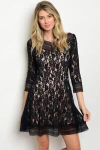 Black-Scoop-Neck-3-4-Sleeve-Lace-Mini-Dress