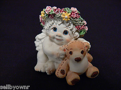 "Dreamsicles ""Playmates"" Baby Cherub & Teddy Figurine 1996 Collectible Treasures"