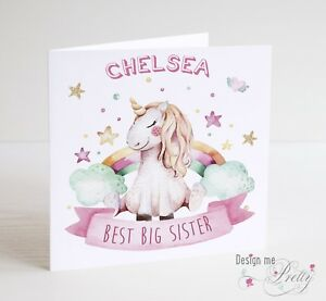 Image Is Loading BEST BIG SISTER Unicorn Birthday Card Personalised With