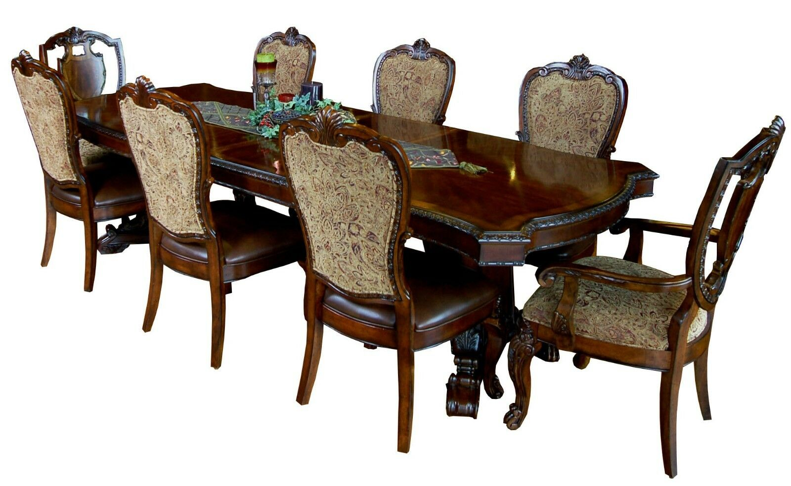 Cathedral Cherry 9 Piece Vintage Victorian Dining Set Table 8 Chairs