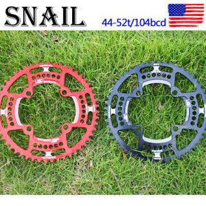 Narrow-Wide-Chainring-MTB-Bike-Single-Speed-Round-44-52T-104BCD-Chainwheel-Bolts