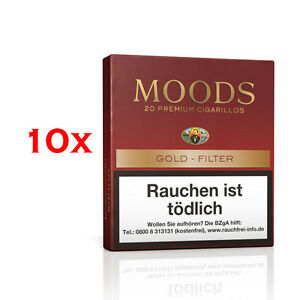 10 x Moods 20 Cigarillos Filter Gold 100% Tobacco - Bünde, Deutschland - 10 x Moods 20 Cigarillos Filter Gold 100% Tobacco - Bünde, Deutschland
