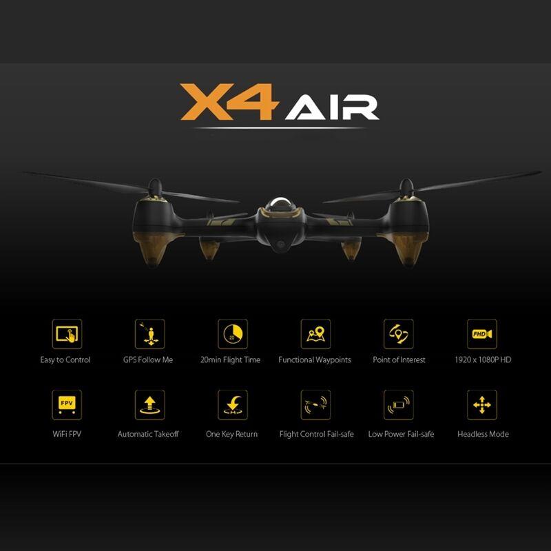 HUBSAN X4 AIR H501A RC Quadrotor  Drone BNF WiFi FPV 1080P HD GPS Follow Me
