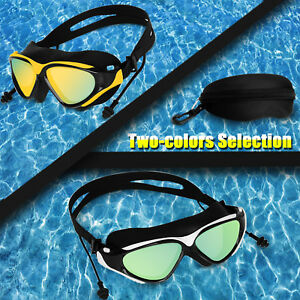 9b1152e80cb8 Mirror Swimming Goggles Ear Plug Swim Glasses UV Protection Anti-Fog ...