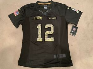 Details about Women Seahawks #12 Fan Stitched Salute to Service Limited Jersey