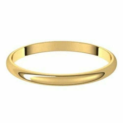 Details about  /SIZE 10-18kt Yellow Gold Wedding Band 2 mm Wide Half Round Ultra-Light Ring