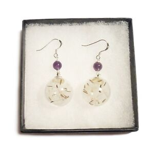 Dandelion-earrings-wish-seed-flower-sterling-silver-gemstone-amethyst-garnet-gem
