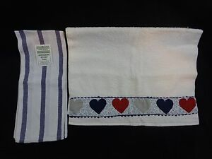 Image Is Loading KITCHEN TOWELS Lot Of 2 BLUE White Hearts