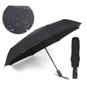 Herren-Regenschirm-Auf-Zu-Automatik-gross-stabil-sturmsicher-reflect-schwarz