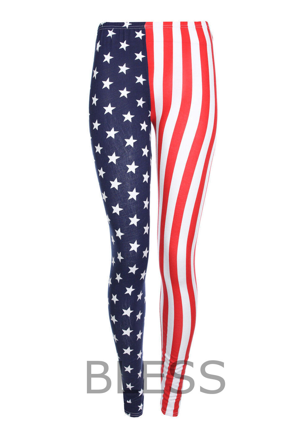 GIRLS USA AMERICAN FLAG LEGGINGS INDEPENDANCE DAY STARS STRIPES KIDS 5-13 YEARS