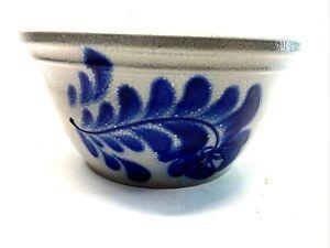 Eldreth Pottery Stoneware Handmade Salt Glaze Leaf Swirl Blue Bowl Signed EUC