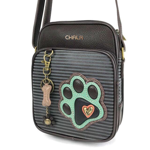 New Chala Denim Blue Stripe Dog Paw Organizer Crossbody Faux Leather Canvas