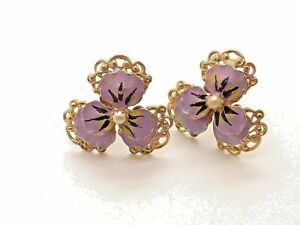 Details about VINTAGE & RARE CUSTOM ENAMELED FLOWER W/ PEARL SCREW ON  EARRINGS ~CHOICE GIFT~