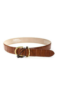 Tardini Womens Leather Textured Wide Belt Brown Size 32
