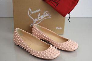 b593fd42c3f6 NEW Christian Louboutin Gozul Spikes Flat Patent NUDE Pink Ballets ...