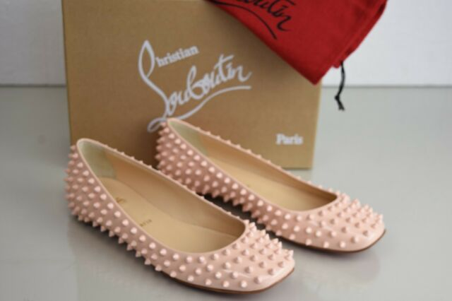 premium selection 2645c 94024 NEW Christian Louboutin Gozul Spikes Flat Patent NUDE Pink Ballets Shoes  40.5