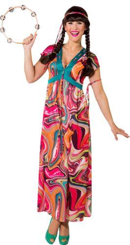 Ladies Long 1970s 1960s Hippie Hippy Fancy Dress Costume Outfit 8-26 Plus Size